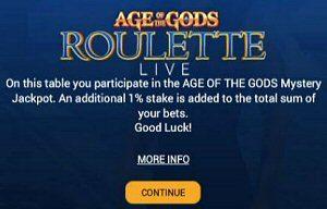 Age Of The Gods Live Roulette Progressive Jackpot