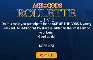Age Of The Gods Live Roulette Progressive Jackpot