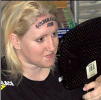 Forehead Goldie Tattoos Online Casino Logo on Noggin