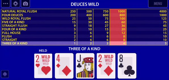 Deuces Wild, Jacks or Better and Bonus Poker on KamaGames Video Poker App
