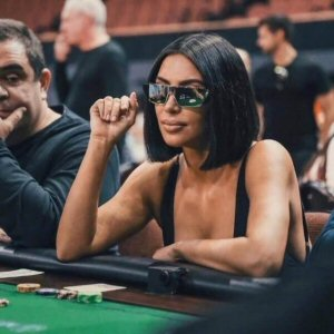 Kim Kardashian Playing Poker with Mirrored Sunglasses